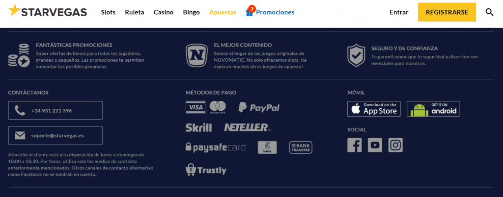 Métodos de pago del Starvegas Casino