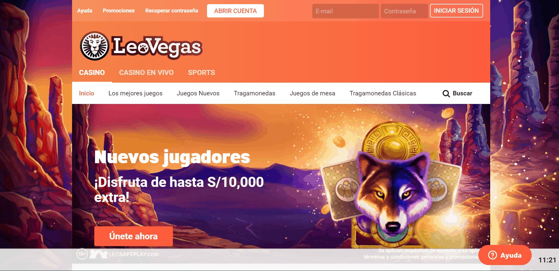 Leovegas Perú  desktop