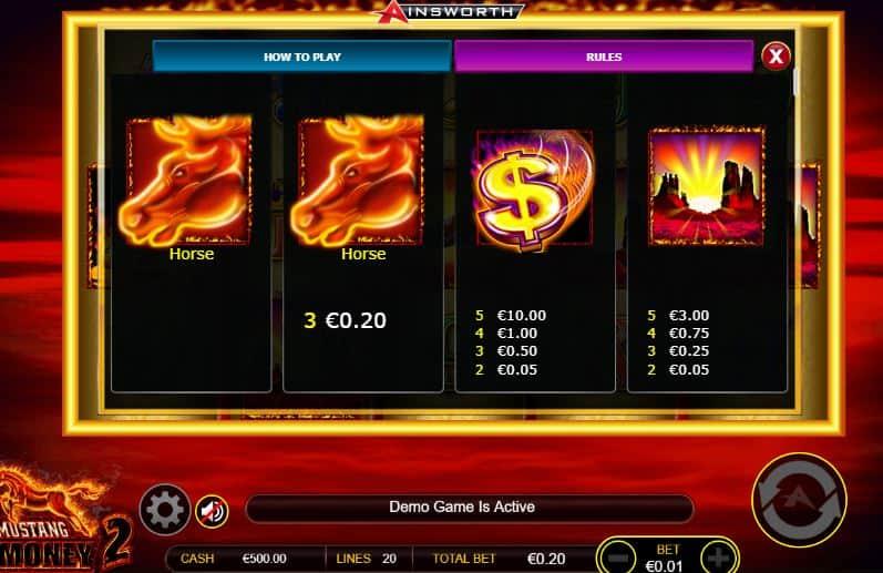 Tabla de pagos de Mustang Money 2