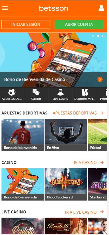 Betsson Chile mobile