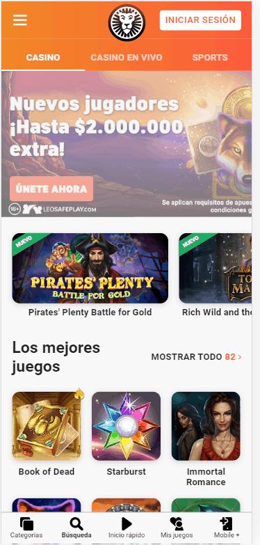 Leovegas Chile mobile
