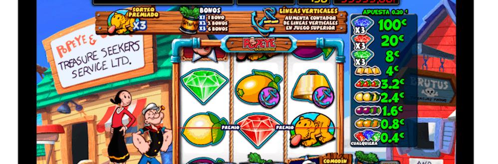 Popeye surca los mares de los casinos online de España
